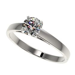 0.75 CTW Certified H-SI/I Quality Diamond Solitaire Engagement Ring 10K White Gold - REF-84R8K - 329
