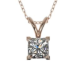 0.50 CTW Certified VS/SI Quality Princess Diamond Necklace 10K Rose Gold - REF-74M5F - 33167
