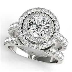 3.42 CTW Certified VS/SI Diamond 2Pc Wedding Set Solitaire Halo 14K White Gold - REF-793T8X - 31223