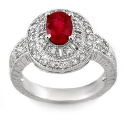1.93 CTW Ruby & Diamond Ring 18K White Gold - REF-96R5K - 11026