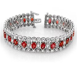 18.50 CTW Red Sapphire & Diamond Bracelet 14K White Gold - REF-399F6M - 11371