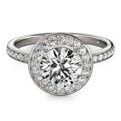 1.65 CTW Certified VS/SI Diamond Solitaire Halo Ring 18K White Gold - REF-576K5R - 26988