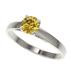 0.77 CTW Certified Intense Yellow SI Diamond Solitaire Engagement Ring 10K White Gold - REF-112X2T -