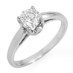 0.80 CTW Certified VS/SI Diamond Solitaire Ring 18K White Gold - REF-244R9K - 11148