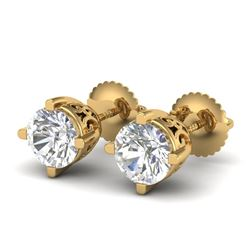 1.5 CTW VS/SI Diamond Solitaire Art Deco Stud Earrings 18K Yellow Gold - REF-318R2K - 37231