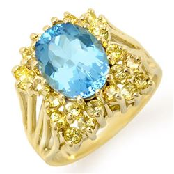 6.0 CTW Yellow Sapphire & Blue Topaz Ring 10K Yellow Gold - REF-53F3M - 11773