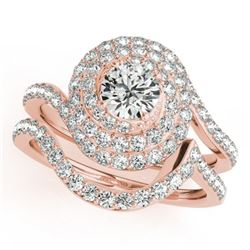 1.67 CTW Certified VS/SI Diamond 2Pc Wedding Set Solitaire Halo 14K Rose Gold - REF-169F3M - 31296