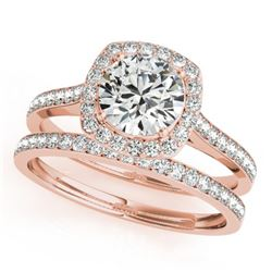 1.12 CTW Certified VS/SI Diamond 2Pc Wedding Set Solitaire Halo 14K Rose Gold - REF-135R3K - 31212
