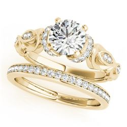 0.95 CTW Certified VS/SI Diamond Solitaire 2Pc Wedding Set Antique 14K Yellow Gold - REF-142T9X - 31