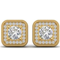 2 CTW Certified VS/SI Diamond Art Deco Micro Halo Stud Earrings 14K Yellow Gold - REF-224R4K - 30500