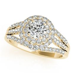 1.25 CTW Certified VS/SI Diamond Solitaire Halo Ring 18K Yellow Gold - REF-174K5R - 26577