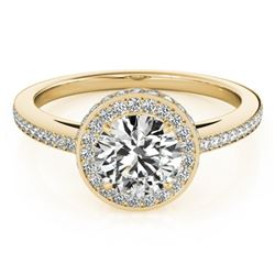 1 CTW Certified VS/SI Diamond Solitaire Halo Ring 18K Yellow Gold - REF-143W6H - 26918