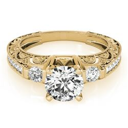 0.91 CTW Certified VS/SI Diamond Solitaire Antique Ring 18K Yellow Gold - REF-134H5W - 27278