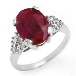 4.74 CTW Ruby & Diamond Ring 14K White Gold - REF-63T6X - 12818