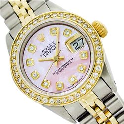 Rolex Men's Two Tone 14K Gold/SS, QuickSet, Diamond Dial, Diam/Ruby Bezel - REF-458W2K