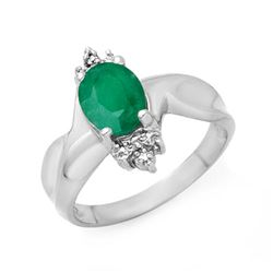 1.53 CTW Emerald & Diamond Ring 18K White Gold - REF-42X2T - 14111