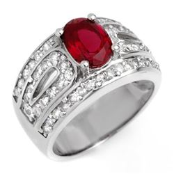 2.54 CTW Rubellite & Diamond Ring 14K White Gold - REF-111X3T - 10621