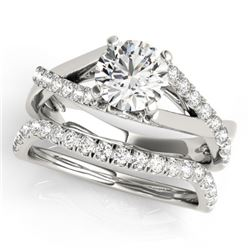 1.06 CTW Certified VS/SI Diamond Solitaire 2Pc Wedding Set 14K White Gold - REF-137R3K - 31619