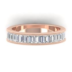 1.50 CTW Baguette Certified VS/SI Diamond Art Deco Eternity 14K Rose Gold - REF-161R8K - 30319