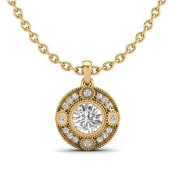 1.01 CTW VS/SI Diamond Solitaire Art Deco Necklace 18K Yellow Gold - REF-221T8X - 36985