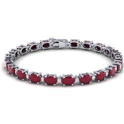 30.8 CTW Ruby & VS/SI Certified Diamond Eternity Bracelet 10K White Gold - REF-217F5M - 29459