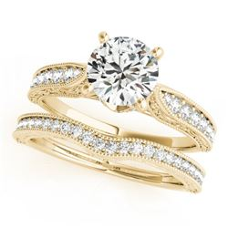 1.7 CTW Certified VS/SI Diamond Solitaire 2Pc Wedding Set Antique 14K Yellow Gold - REF-432X2T - 315