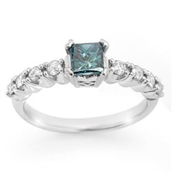 0.90 CTW Blue & White Diamond Ring 14K White Gold - REF-167R6K - 11642