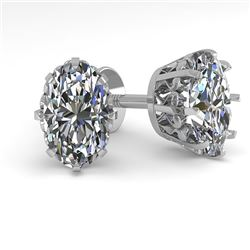 1.0 CTW VS/SI Oval Cut Diamond Stud Solitaire Earrings 18K White Gold - REF-156R4K - 35670