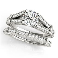 0.91 CTW Certified VS/SI Diamond Solitaire 2Pc Wedding Set Antique 14K White Gold - REF-148W5H - 314