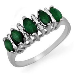 0.70 CTW Emerald Ring 18K White Gold - REF-31M6F - 12656
