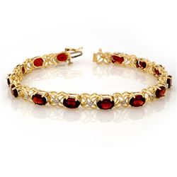 13.55 CTW Garnet & Diamond Bracelet 10K Yellow Gold - REF-52W9H - 10122