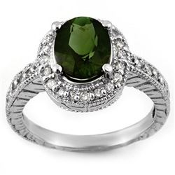 3.40 CTW Green Tourmaline & Diamond Ring 14K White Gold - REF-77H8W - 11138