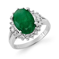3.39 CTW Emerald & Diamond Ring 18K White Gold - REF-101R8K - 13332