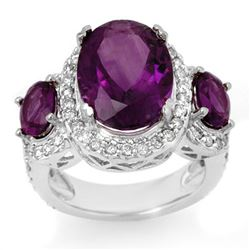 8.0 CTW Amethyst & Diamond Ring 10K White Gold - REF-90W5H - 10614