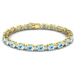 21.2 CTW Aquamarine & VS/SI Certified Diamond Eternity Bracelet 10K Yellow Gold - REF-263R6K - 29446