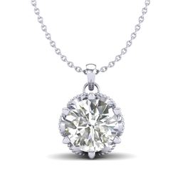 1.36 CTW VS/SI Diamond Solitaire Art Deco Necklace 18K White Gold - REF-361W8H - 37244