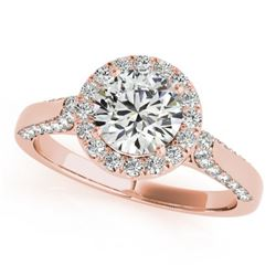 1.5 CTW Certified VS/SI Diamond Solitaire Halo Ring 18K Rose Gold - REF-387M5F - 26384