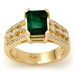 2.75 CTW Emerald & Diamond Ring 14K Yellow Gold - REF-78R2K - 11930