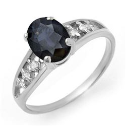 1.60 CTW Blue Sapphire & Diamond Ring 18K White Gold - REF-33H5W - 13729