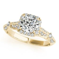 1.36 CTW Certified VS/SI Diamond Solitaire Halo Ring 18K Yellow Gold - REF-388F4M - 26529