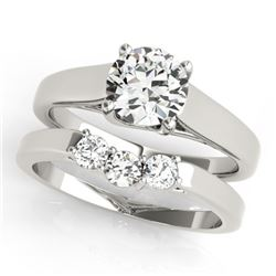 0.6725 CTW Certified VS/SI Diamond 2Pc Set Solitaire Wedding 14K White Gold - REF-105M3F - 32105
