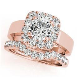 1.8 CTW Certified VS/SI Diamond 2Pc Wedding Set Solitaire Halo 14K Rose Gold - REF-265R3K - 31227