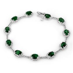 10.40 CTW Emerald & Diamond Bracelet 10K White Gold - REF-84H4W - 10780