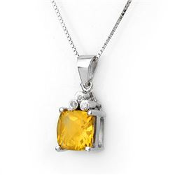 2.56 CTW Citrine & Diamond Necklace 18K White Gold - REF-35R3K - 10765