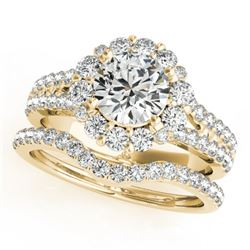 2.08 CTW Certified VS/SI Diamond 2Pc Wedding Set Solitaire Halo 14K Yellow Gold - REF-262M2F - 31096