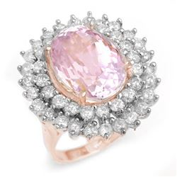 12.08 CTW Kunzite & Diamond Ring 14K Rose Gold - REF-264R2K - 14334