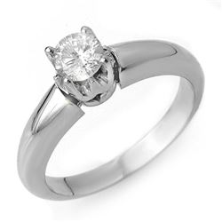 0.50 CTW Certified VS/SI Diamond Ring 18K White Gold - REF-98M2F - 10130