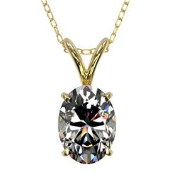 1 CTW Certified VS/SI Quality Oval Diamond Solitaire Necklace 10K Yellow Gold - REF-267H8W - 33194