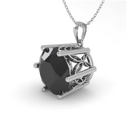 2 CTW Black Certified Diamond Solitaire Necklace 18K White Gold - REF-65T5X - 35877