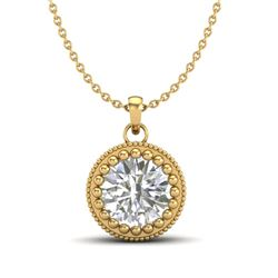 1 CTW VS/SI Diamond Solitaire Art Deco Necklace 18K Yellow Gold - REF-292R5K - 36892